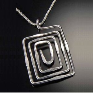 Hammered Silver Rectangles Necklace